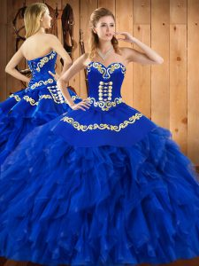 Shining Blue Sweetheart Neckline Embroidery and Ruffles Sweet 16 Dress Sleeveless Lace Up