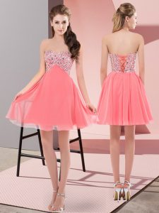 Watermelon Red Evening Dress Prom and Party with Beading Sweetheart Sleeveless Lace Up