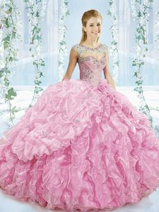 Gorgeous Sweetheart Sleeveless Brush Train Lace Up Quinceanera Dresses Baby Pink Organza