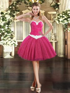 Eye-catching Sleeveless Appliques Lace Up Dress for Prom