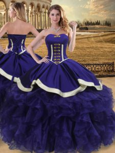 Amazing Sleeveless Lace Up Floor Length Beading and Ruffles Vestidos de Quinceanera