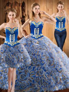 Comfortable Multi-color Lace Up Quinceanera Dresses Embroidery Sleeveless With Train Sweep Train