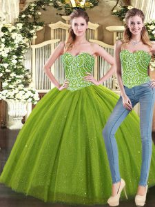 Customized Olive Green Ball Gowns Sweetheart Sleeveless Tulle Floor Length Lace Up Beading Sweet 16 Dresses