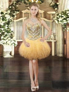 Free and Easy Gold Sleeveless Mini Length Beading and Ruffles Lace Up Prom Party Dress