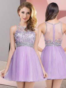 Fitting Lavender Sleeveless Mini Length Beading Zipper Dress for Prom