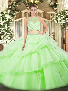 Fabulous Apple Green Two Pieces Scoop Sleeveless Tulle Floor Length Zipper Ruffles Quince Ball Gowns