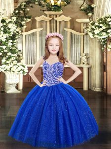 Floor Length Lace Up High School Pageant Dress Royal Blue for Party and Quinceanera with Beading