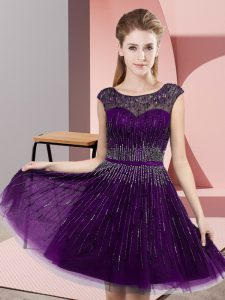 Dramatic Dark Purple Scoop Backless Beading Prom Evening Gown Sleeveless