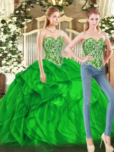 Green Tulle Lace Up Vestidos de Quinceanera Sleeveless Floor Length Beading and Ruffles