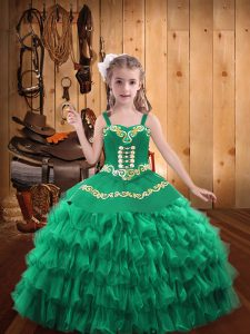 Turquoise Sleeveless Organza Lace Up Girls Pageant Dresses for Party and Sweet 16 and Quinceanera and Wedding Party