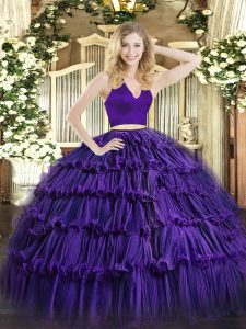 Purple Zipper Quince Ball Gowns Ruffled Layers Sleeveless Floor Length