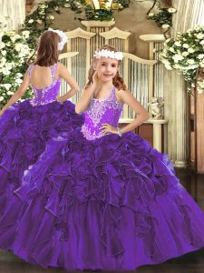 Sleeveless Beading and Ruffles Lace Up Pageant Gowns