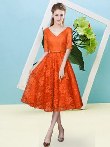 Stylish Half Sleeves Tea Length Bowknot Lace Up Quinceanera Court of Honor Dress with Orange Red
