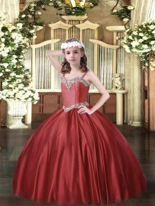 Wine Red Ball Gowns Satin Straps Sleeveless Beading Floor Length Lace Up Little Girl Pageant Dress