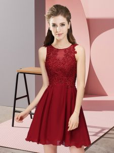 Captivating Wine Red Chiffon Zipper Quinceanera Court Dresses Sleeveless Mini Length Appliques