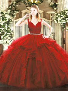 Free and Easy Floor Length Ball Gowns Sleeveless Wine Red Quinceanera Dress Zipper