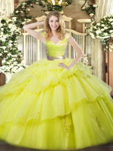 Yellow Green Zipper Quinceanera Gowns Ruffled Layers Sleeveless Floor Length