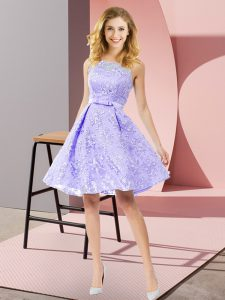 Lavender Zipper Quinceanera Dama Dress Bowknot Sleeveless Knee Length