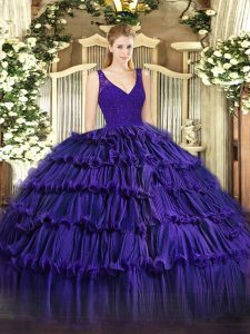 Delicate Floor Length Purple Quinceanera Gowns Organza Sleeveless Beading and Ruffled Layers