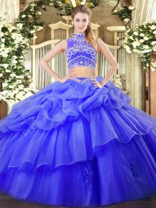 New Style Blue Sleeveless Tulle Backless 15th Birthday Dress