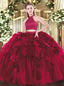 Ball Gowns Quinceanera Gowns Fuchsia Halter Top Organza Sleeveless Floor Length Backless