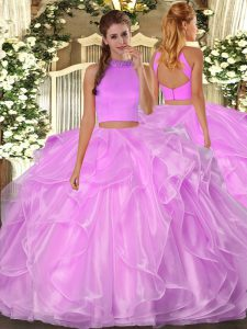 Fashion Sleeveless Floor Length Beading and Ruffles Backless 15th Birthday Dress with Lilac