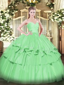 Apple Green Lace Up 15th Birthday Dress Beading and Ruffled Layers Sleeveless Floor Length