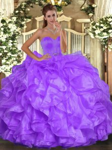 Custom Fit Floor Length Purple Quinceanera Dress Sweetheart Sleeveless Lace Up