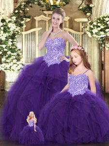 Eggplant Purple Sweetheart Lace Up Beading and Ruffles Quince Ball Gowns Sleeveless