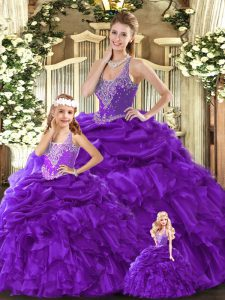 Purple 15th Birthday Dress Military Ball and Sweet 16 and Quinceanera with Beading and Ruffles Straps Sleeveless Lace Up