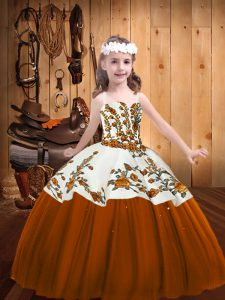 Brown Ball Gowns Embroidery Pageant Dress Toddler Lace Up Tulle Sleeveless Floor Length