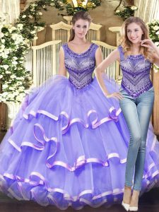 Cheap Scoop Sleeveless Lace Up Sweet 16 Dress Lavender Tulle