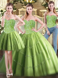 Tulle Sweetheart Sleeveless Lace Up Beading Vestidos de Quinceanera in Olive Green