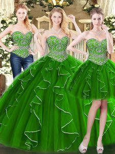 Green Lace Up 15th Birthday Dress Beading and Ruffles Sleeveless Floor Length