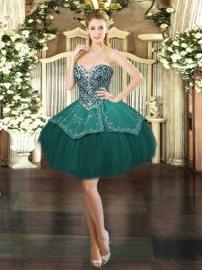 Ball Gowns Homecoming Dress Dark Green Sweetheart Satin and Tulle Sleeveless Mini Length Lace Up