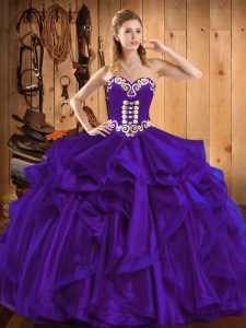 New Arrival Purple Organza Lace Up Sweetheart Sleeveless Floor Length Ball Gown Prom Dress Embroidery and Ruffles