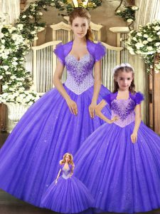 Gorgeous Purple Ball Gowns Tulle Straps Sleeveless Beading Floor Length Lace Up Sweet 16 Dresses