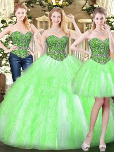 Inexpensive Sweetheart Sleeveless Lace Up Quinceanera Dress Tulle