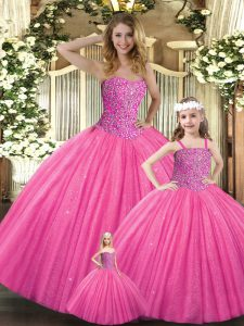 Free and Easy Sleeveless Tulle Floor Length Lace Up 15 Quinceanera Dress in Hot Pink with Beading