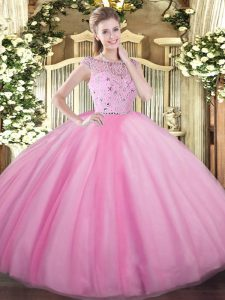Amazing Floor Length Rose Pink Vestidos de Quinceanera Tulle Sleeveless Beading