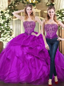 Exceptional Purple Sleeveless Beading and Ruffles Floor Length Quinceanera Dresses