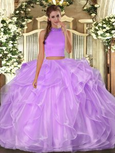 Fine Sleeveless Beading and Ruffles Backless Quinceanera Gowns