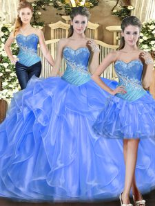 Glittering Baby Blue Lace Up Sweet 16 Quinceanera Dress Beading and Ruffles Sleeveless Floor Length