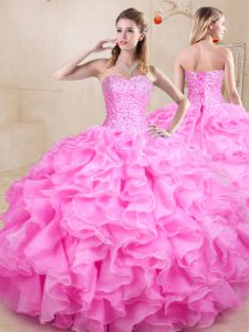 Fashion Rose Pink Sleeveless Beading and Ruffles Floor Length Sweet 16 Dress