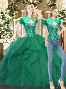 Deluxe Beading and Ruffles Sweet 16 Dresses Dark Green Lace Up Sleeveless Floor Length