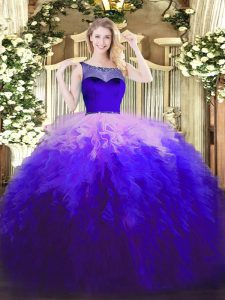 Excellent Multi-color Scoop Neckline Beading and Ruffles Quinceanera Gowns Sleeveless Zipper