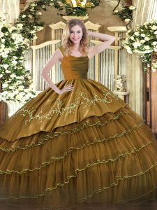 Brown Sleeveless Embroidery and Ruffled Layers Floor Length Vestidos de Quinceanera