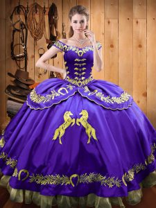 Romantic Eggplant Purple Sleeveless Satin and Organza Lace Up Ball Gown Prom Dress for Sweet 16 and Quinceanera