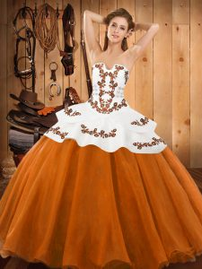 Exceptional Orange Red Ball Gowns Embroidery Sweet 16 Dress Lace Up Tulle Sleeveless Floor Length