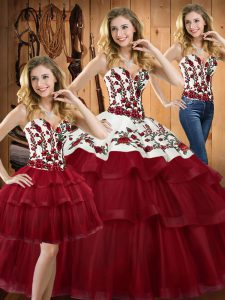 Attractive Sleeveless Embroidery Lace Up 15th Birthday Dress with Wine Red Sweep Train
